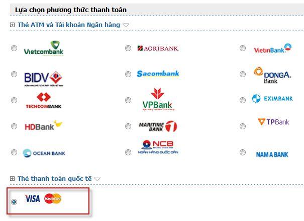 thanh toán online, thẻ tín dụng